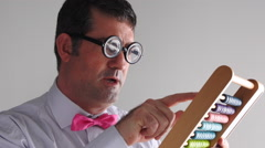 Geeky man accountant calculating with wooden numerator abacus Stock Footage