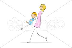 Mother and son having fun Stock Illustration
