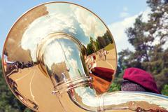 Sousaphone played by military orchestra Stock Photos
