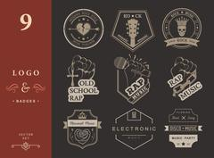 Set of vector logos and badges music Stock Illustration