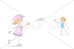 Kids playing frisbee Stock Illustration