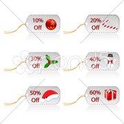 illustration of set of christmas sale tags - stock photo