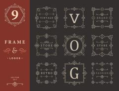 Set Luxury Logos and Monogram Template Stock Illustration