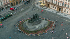 Aerial view of Old Town Square and Jan Hus monument timelapse. People sitting Stock Footage
