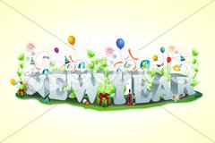 New year text with all celebration elements Stock Illustration