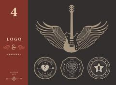 Set of vintage logos of rock music and rock and roll Piirros