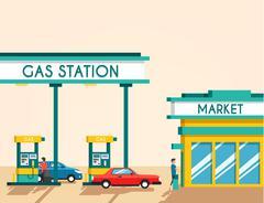 Gas filling station. Energy. Vector flat illustration Stock Illustration