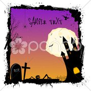 Halloween night with haunted castel Stock Illustration