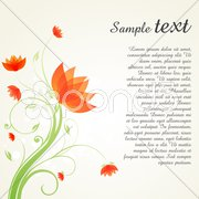 Swirly floral background with sample text Stock Illustration