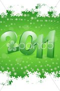 2011 in snowy background Stock Illustration