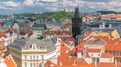 Aerial view of the traditional red roofs of the city of Prague, Czech Republic Stock Footage