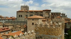 Ancient Avila cathedral video with birds flying around Stock Footage