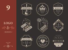Set of vintage logos of rock music Piirros