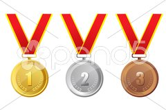 gold, silver and bronze medal - stock photo