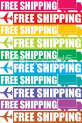 colorful free shipping tag - stock photo