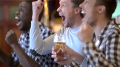 Expressions fans with beer in a pub Stock Footage