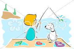 Boy and dog catching text Stock Illustration