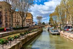 The Canal de la Robine in Narbonne city.  Languedoc-Roussillon, France Stock Photos