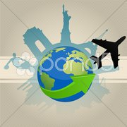 Famous monument around globe Stock Illustration