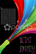 Colorful swirl coming out of champagne bottle Stock Illustration