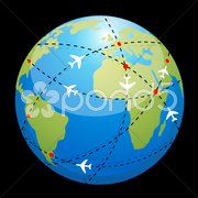 globe showing air route - stock photo