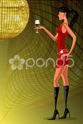 Lady with wine glass in a party Stock Illustration