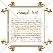 text template with floral frame - stock photo