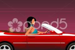 Urban woman driving car Stock Illustration