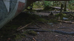 Aircraft wreckage from 1957 plane crash in rain forest Stock Footage