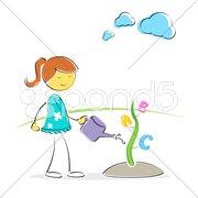 Girl watering abc plant Stock Illustration
