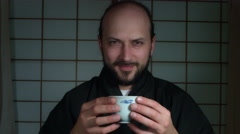 4k Anime Shot of a Japanese Man Drinking traditional Tea Stock Footage