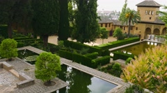 Garden of fortress at Alhambra of Granada Stock Footage