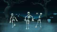 Cartoon Skeleton Dance Party on a Cemetery Stock Footage