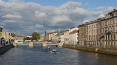 Norra Hamngatan in Gotheburg, with pleasure boats Stock Footage