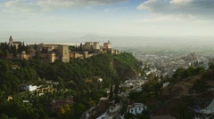 Beautiful view of Granada city in Spain with a famous Alhambra Stock Footage