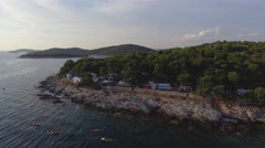 Camping site on a island at Adriatic Sea. Aerial view 4K Stock Footage