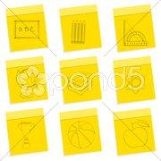 study sketch icons - stock photo