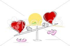 Hearts on sea saw Stock Illustration