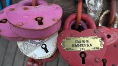 Colored locks love closeup Stock Footage