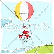 Santa flying in parachute Stock Illustration