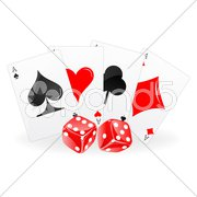 Playing card with dice Stock Illustration