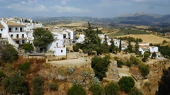 View of cliffs and buildings in Ronda, Andalusia, Spain. Stock Footage