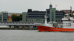 A fishing trawler in Gothenburg Stock Footage