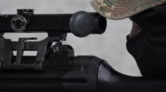 Soldier firing HK G3 assault rifle – Detail Telescope Stock Footage