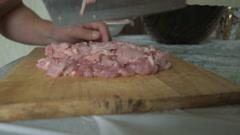Man cut fresh meat Stock Footage