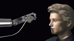 Robot hand plugging data cable to young man, 3D animation Stock Footage