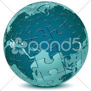 Earth jigsaw puzzle Stock Illustration