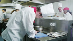 4K Multi ethnic team of chefs preparing food in a commercial kitchen Stock Footage