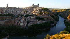 Cityscape of Toledo and view of Tajo River. Stock Footage