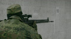 Soldier firing HK G3 assault rifle - Close Stock Footage
